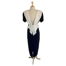 Datiani Vintage 1980s Navy and White Cocktail Dress
