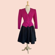 Destinee Vintage 1980s Fuchsia and Black 2 Piece Formal