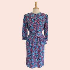 Stuart Alan Vintage 1980s Floral 2 Piece Peplum Blouse and Skirt