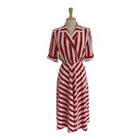 Billy Jack Vintage 1980s  Red and White Stripe Dress