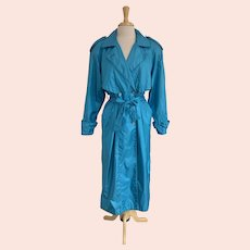 J. Gallery Vintage 1980s Turquoise All Weather Trench Coat