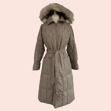 Sterling Stall Vintage 1970s Quilted Hooded Trench with Fur Trim