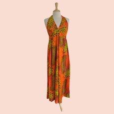Hukilau Fashions 1960s Vintage Hawaiian Halter Dress