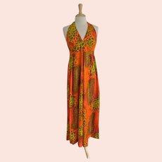 Hukilau Fashions 1960s Vintage Hawaiian Halter Dress