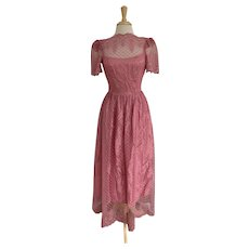 Dusty Rose Vintage 1980s Prom Dress