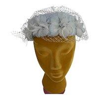 Vintage 1960s Veiled Floral Pillbox Hat