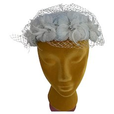 Vintage 1960s Veiled Floral Pillbox Hat