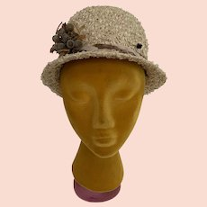 Vintage 1960s Straw Cloche Hat