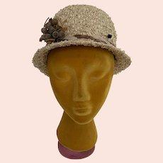 Vintage 1960s Straw Cloche Hat