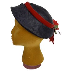Lecie Vintage 1950s Capulet Straw Bonnet