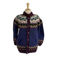 Nordic Style Vintage 1980s Wool Cardigan