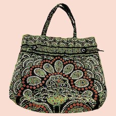 Tribal Print Plastic Bead, Vintage 1970s, Drawstring Purse