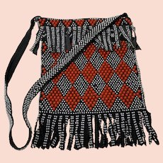 Black and Red Fringed Plastic Bead Purse, Vintage 1970s