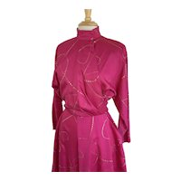 Raspberry Pink Vintage 1980s Dolman Sleeve Wrap Dress