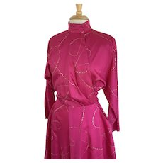 Raspberry Pink Vintage 1980s Dolman Sleeve Wrap Dress