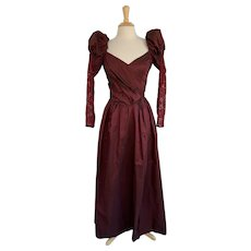 Iridescent Ruby Red Taffeta Vintage 1980s Prom Dress