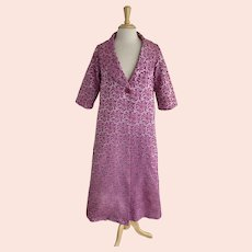 Jr. Theme New York for Lord and Taylor Vintage 1960s Orchid Brocade Swing Coat