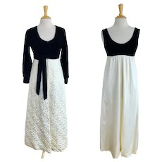 Vanity Fair, Vintage 1960s Black and White Robe and Nightgown Set