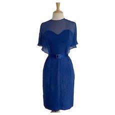 Miss Elliette Vintage 1960s Blue Silk Chiffon Dress