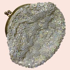 White Sequined and Beaded, Vintage 1960s Coin Purse