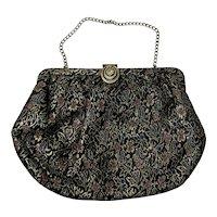 Black and Gold, Vintage 1950s, Brocade Evening Bag Clutch