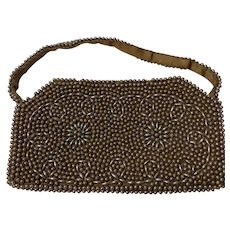 Chocolate Brown Faux Pearl Clutch, Vintage 1950s