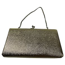 Textured Gold Metallic Vintage 1960s Clutch