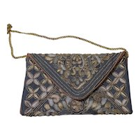 Envelope Style Clutch Purse, Vintage 1980s, Metallic Embroidery