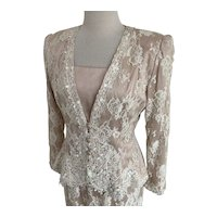 Ursula of Switzerland, Vintage 1980s, Blush and Cream Lace 2 Piece Suit