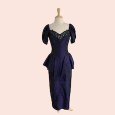 Black Shot Iridescent Purple, Vintage 1980s, Taffeta Prom Dress
