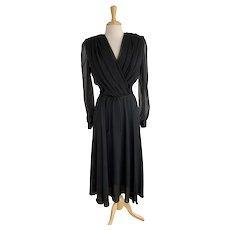 Black Ursula of Switzerland, Vintage 1980s, Chiffon Dress