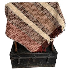 Handwoven, Vintage 1960s, Geometric Print Throw Blanket
