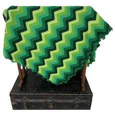 Shades of Green, Vintage 1970s, Chevron Crocheted Blanket Throw