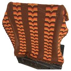 Brown and Orange, Vintage 1960s, Crocheted Blanket Throw