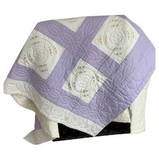 Lavender and Cream Hand Stitched and Embroidered Cotton Quilt, Vintage 1940s, Coverlet