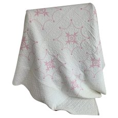 Pink Wild Rose Embroidered, Hand Quilted Vintage 1950s Full Size Comforter Quilt