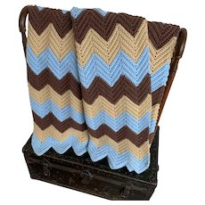 Blue and Brown, Vintage 1970s Hand Crocheted Chevron Pattern Blanket Throw