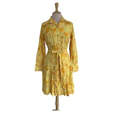 The Lilly, Lilly Pulitzer Inc., Vintage 1960s Yellow Floral Dress