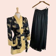 Black and Gold Silk, Vintage 1940s, Custom Made Hostess Lounge Set