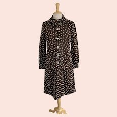 Domani Knits, Vintage 1960s, Brown and White Polka Dot Dress Suit