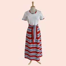Striped Maxi Dress, Vintage 1970s, Red, White, and Blue