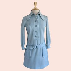 Baby Blue MOD, Vintage 1960s, Button Front Jumper