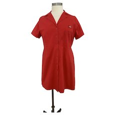 Dickies, Vintage 1990s,  Red Cotton Uniform Dress