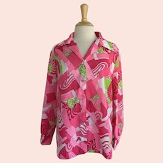 Pykettes, Vintage 1970s, Pink and Green Geometric Print Blouse