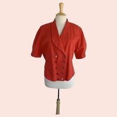 Jennifer Eden, Vintage 1980s, Coral Cotton Short Sleeve Double Breasted Jacket