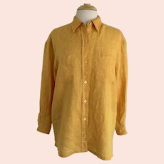 Liz Claiborne Liz Sport, Vintage 1990s, Mustard Yellow Linen Blouse