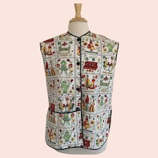Kitchen Smock, Vintage 1970s, Folk Print