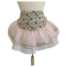 Fancy Ruffled Organza, Vintage 1950s, Hostess Half Apron