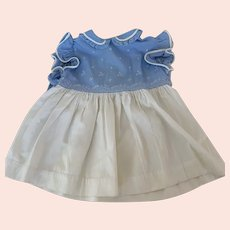 Blue and Cream, Vintage 1950s, Size 2 Baby Dress