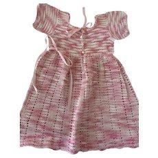 Raspberries and Cream, Vintage 1950s, Crocheted Girl's Dress